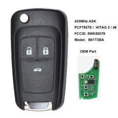 Flip Remote Key 3 Button for Opel Vauxhall PCF7937E /  HITAG 2 / 46 Chip HU100 Blade FCCID: 5WK50079 Model:B01T3BA