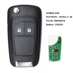 Flip Remote Key 2 Button ASK 433MHz PCF7937E / HITAG 2 / 46 CHIP for Chevrolet Aveo / Vauxhall Astra J /Opel FCCID: 5WK50079