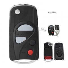 Modified Flip Folding Remote Key Shell Case 4 Button Fob for NISSAN Maxima Sentra 2000-2006
