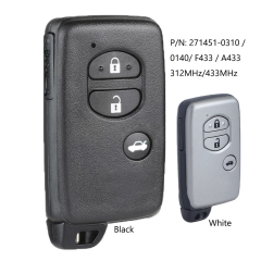 Smart 3 Button Remote Car Key Fob 312MHz / 433MHz for Toyota Camry Crown Mark X Majesta P/N: 271451-0310 / 0140 / F433 / A433