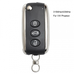 Flip Uncut Smart Remote Key 3 Button 315MHz/433 MHz 46 Chip for Volkswagen Phaeton before 2015 year