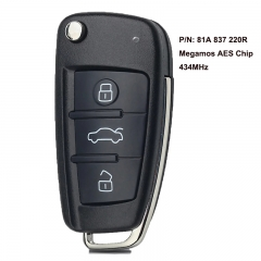 Keyless Entry Go Smart Remote Key Fob 434MHz ID88 Chip for Audi RS Q2 RS Q3 2017 2018 2019 P/N: 81A837220R, 81A 837 220R