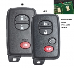 Smart Remote Key 312MHz/314MHz/433MHz for Toyota Land Cruiser 2013 2014 2015 FCCID: HYQ14AEM Board ID: 271451-6601